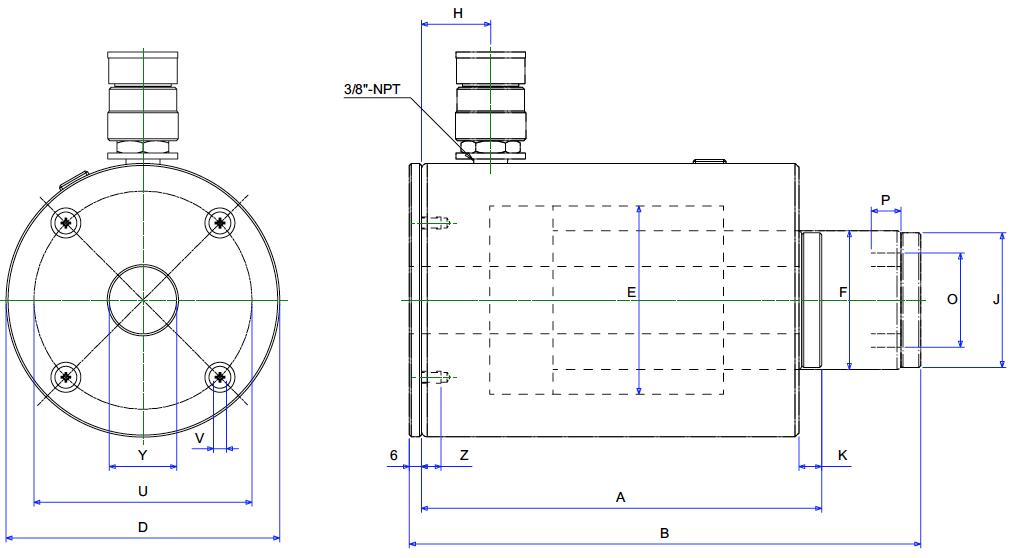 kích thước vật lý của kích thủy lực BETEX ACHC Series