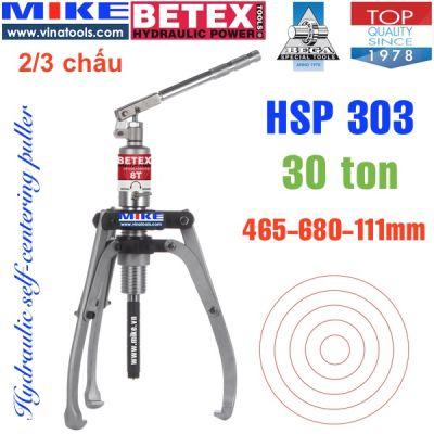Cảo thủy lực 30 tấn BETEX HSP303, 2/3 chấu, tự định tâm, độ mở 680.