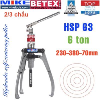 Cảo thủy lực 6 tấn BETEX HSP63, tự định tâm 2/3 chấu, đường kính max 380mm.