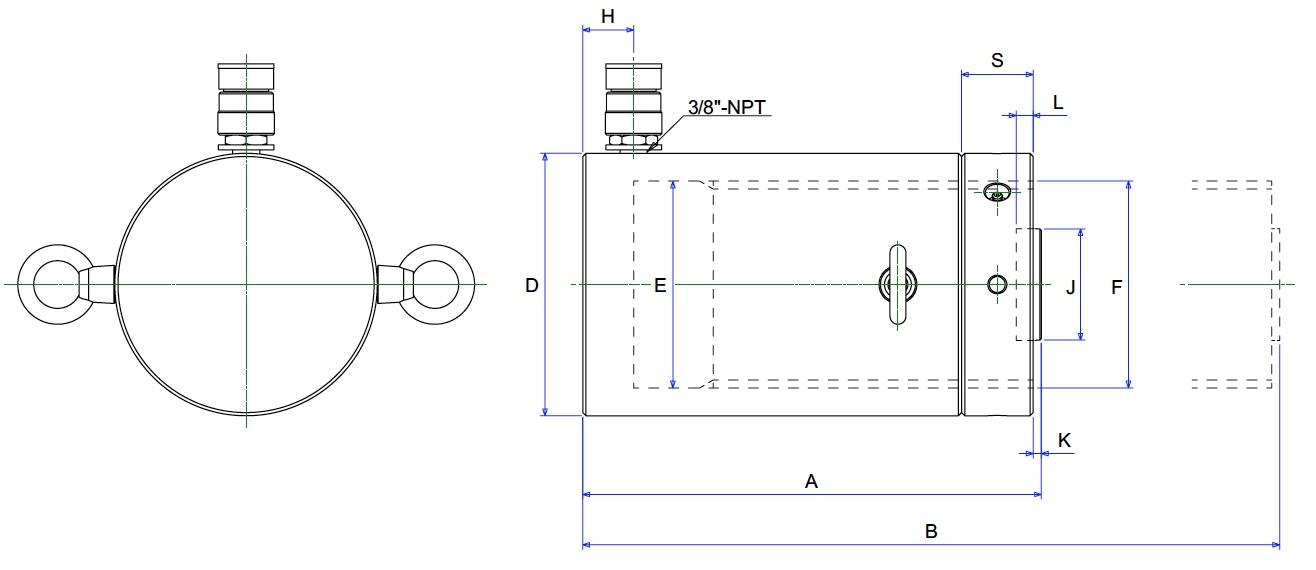 Bản vẽ kích thủy lực 500 tấn BETEX JLLC50012