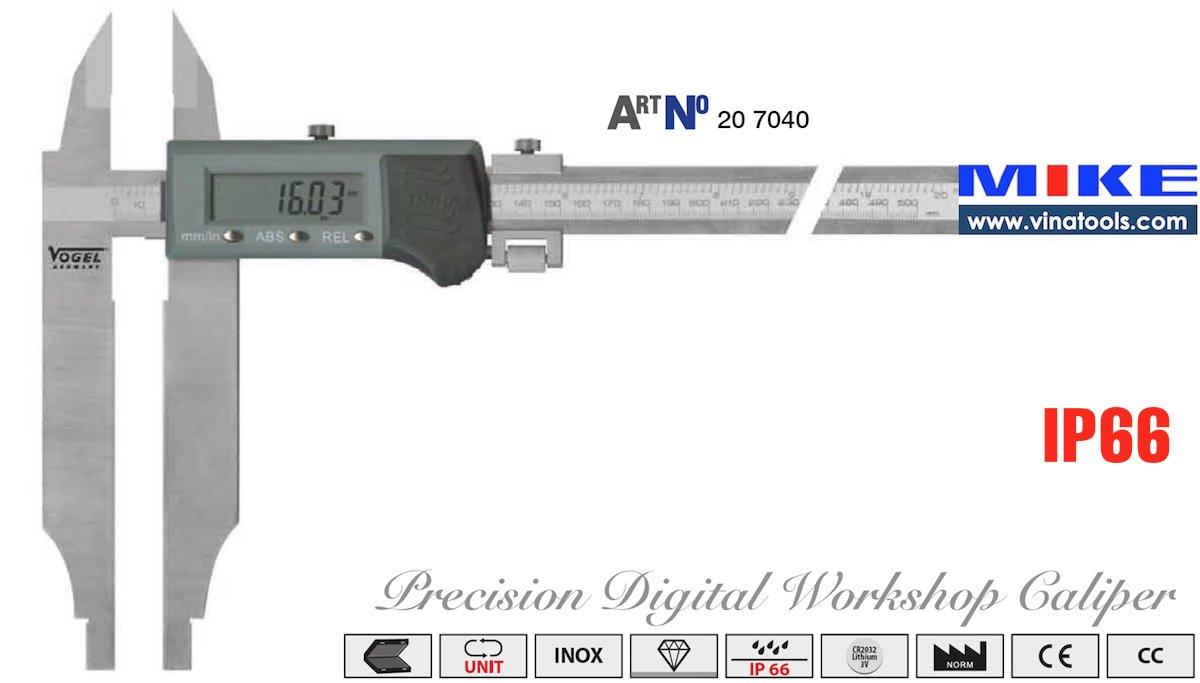Thước cặp điện tử 500mm x 0.01mm – cấp bảo vệ IP66, ngàm cặp phụ 100mm. Vogel Germany. Hàng chính hãng. Giao hàng toàn quốc. Bảo hành 12 tháng.