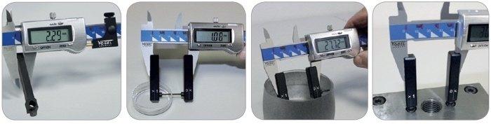 hình minh họa khi gắn dưỡng đo vào thước cặp Vogel Germany.