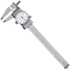 Thước cặp đồng hồ 6 inch, mặt đồng hồ màu trắng, chuống nước IP40.