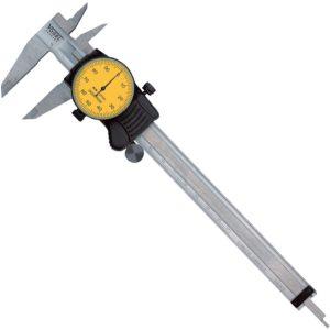 200131 Thước cặp đồng hồ 200 mm, ±0.01mm, mặt đồng hồ màu vàng.