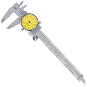 200130 Thước cặp đồng hồ 150 mm, ±0.01mm, mặt đồng hồ màu vàng.
