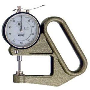 Đồng hồ đo độ dày 0-10 mm ±0.1mm, vật liệu tấm, phôi thép, cao su. Vogel Germany.