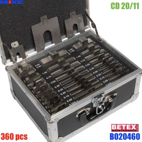 Bộ shim inox 360 pcs CD20/11. Độ dày từ 0.025 - 3.0mm. BETEX Solid Stainless Steel Shim.