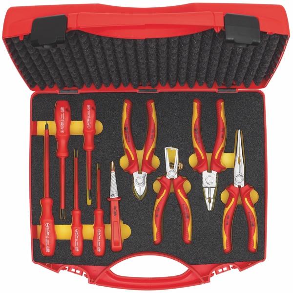Dụng cụ cách điện 1000V, bao gồm kìm đa năng, tô vít, bút thử điện 10 chi tiết.