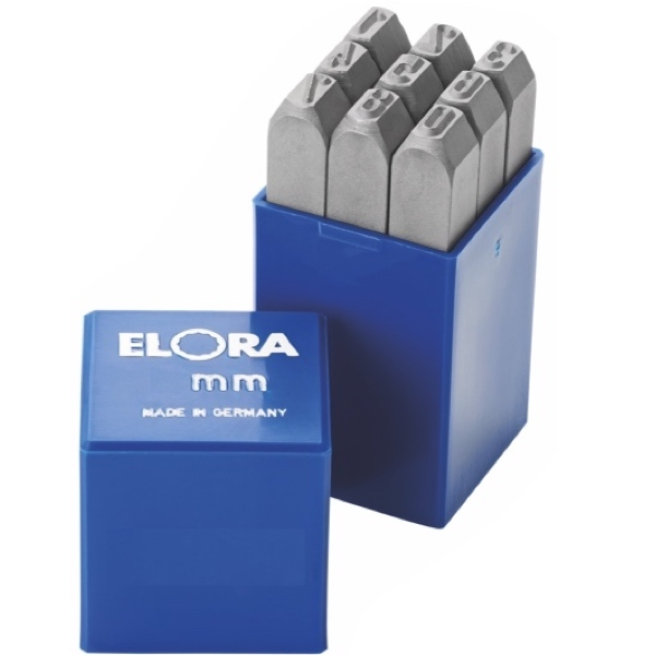 Bộ đục số 2mm, 9 số thép hợp kim ELORA 400-Z2. Made in Germany.
