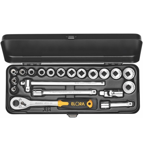 """Bộ socket 20 chi tiết ELORA 870-JSU, hệ mét 6 - 22mm, đầu vuông 3/8"""""""