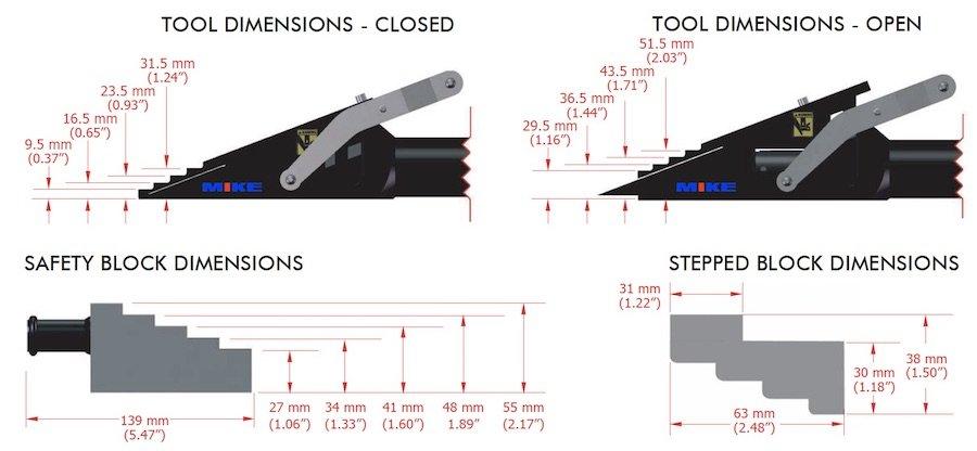 kích thước đầu tách VLW18TI khi mở - đóng