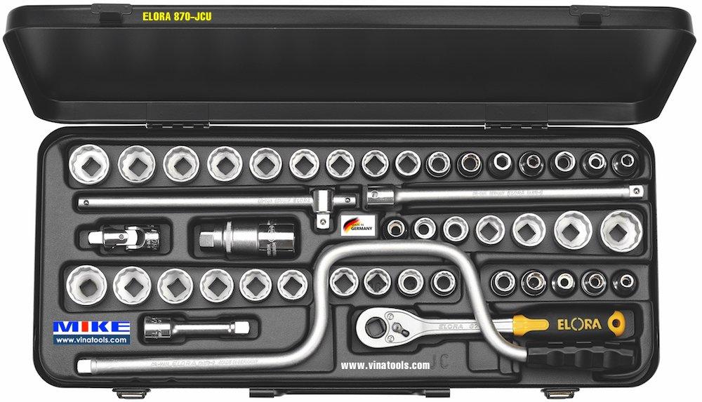 Bộ tuýp 43 chi tiết ELORA 870-JCU, hệ mét và hệ inch