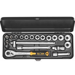 """Bộ socket 15 món ELORA 870-JAU, hệ inch 1/4 - 7/8 inch, đầu vuông 3/8"""""""