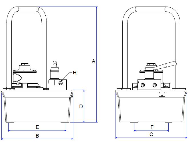 Bản vẽ kích thước bơm thủy lực dẫn động bằng khí nén AP8000S