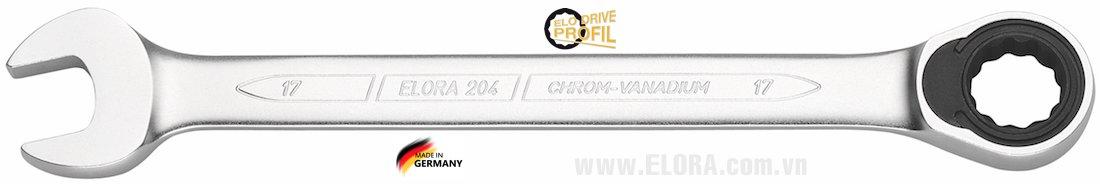 Cờ lê vòng miệng tự động 7mm, loại thẳng ELORA 204-7.
