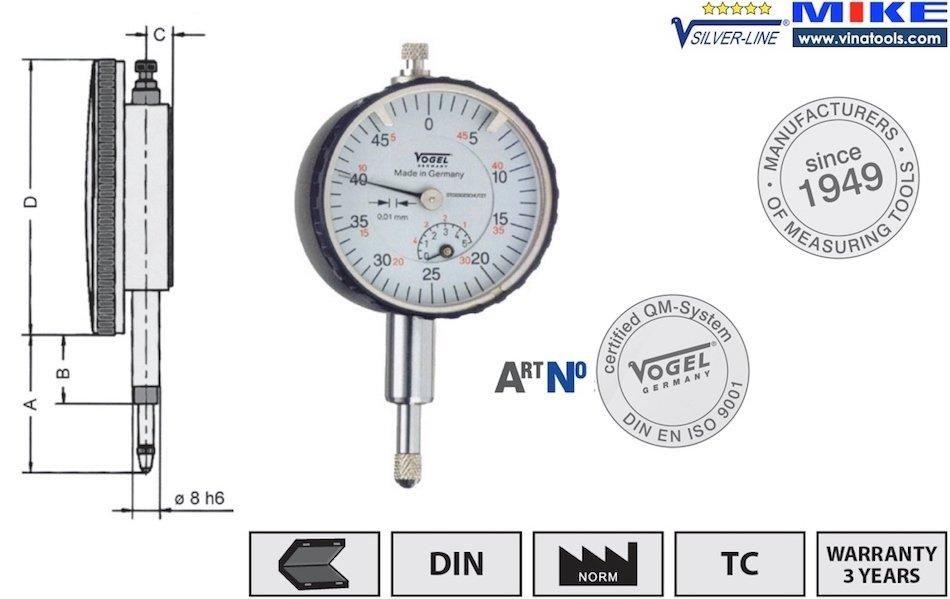 Đồng hồ so cơ khí 0 - 5mm, ±0.01mm, dùng để hiệu chuẩn, chống sock.