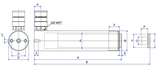 bản vẽ kích thước kích thủy lực 25 tấn BETEX NSSS2512