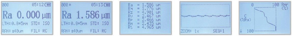 Hình chụp màn hình các kết quả đo của máy đo độ nhám.