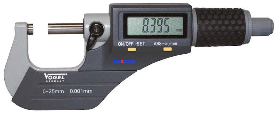 Panme điện tử 0-25mm cấp bảo vệ IP40, độ chính xác ±0.001mm. Vogel Germany.
