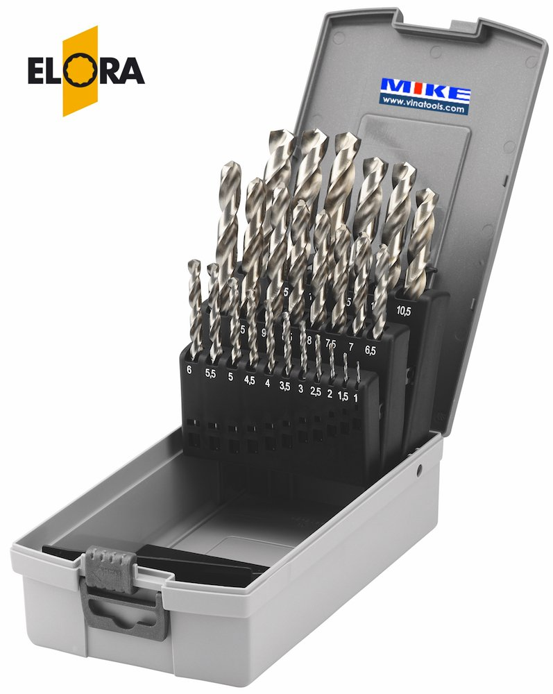Bộ mũi khoan thép 25pcs HSS-G, 1.0mm - 10 mm, ELORA 1361-S25