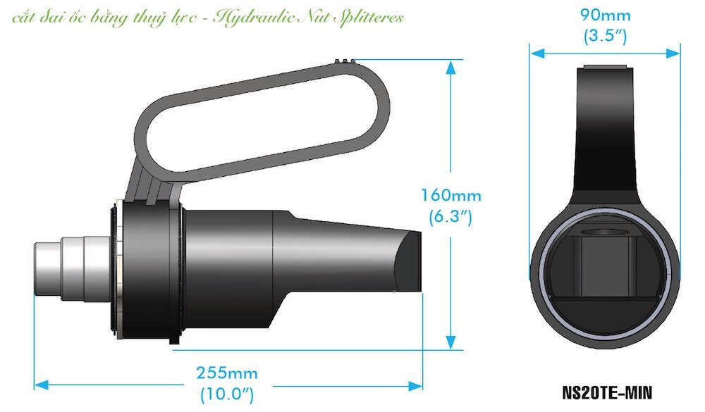 Cắt đai ốc bằng thủy lực NS20TE-MIN, đai ốc từ 32 đến 51mm. M24 - M30