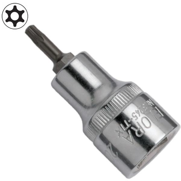 Tuýp lục giác đầu sao có lỗ ELORA 3245-TTX, đầu vuông 1/2 inch. từ T20 đến T60.Loại khẩu lục giác này thích hợp khi dùng với tay vặn hoặc cần tự động.Công nghệ vật liệu hàng đầu của CHLB Đức.Vật liệuELORA-Chrome-Vanadium 31CrV3 / 1.2208.Đầu vuông đáp ứng tiêu chuẩn: DIN 3120-C 10, ISO 1174.