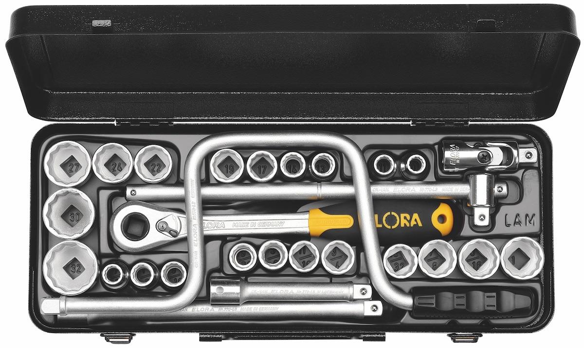 Bộ khẩu hệ mét và inch 28 món ELORA 770-LAMU, từ 10 - 32mm, 7/16 - 1inch, vuông 1/2 inch. Bộ socket 28 món, bộ socket 28 món, bộ tuýp 10 đến 32mm, 7/16 đến 1 inch. Made in Germany. Giao hàng tận nơi trên toàn quốc.