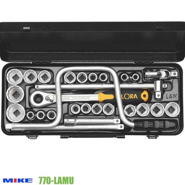 Bộ tuýp 28 chi tiết 770-LAMU, đầu vuông 1/2 inch, 12 cạnh, hệ mét và inch.