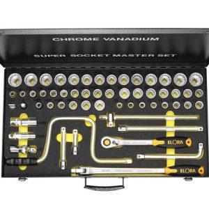 Bộ tuýp hệ mét và inch 57 món ELORA 771-LSSMF, 1/2 inch, khẩu loại 6 cạnh.