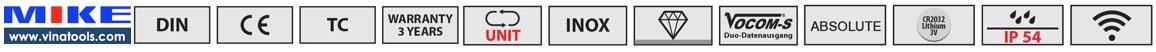 icon thông số tính năng của thước cặp điện tử Vogel Germany.