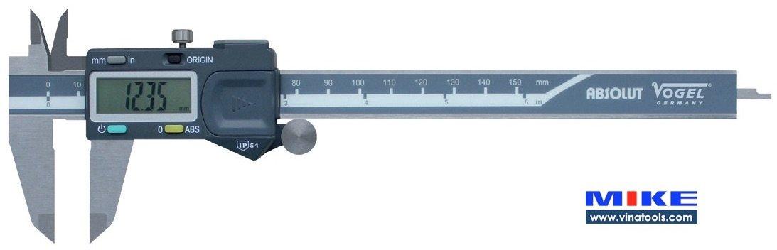 Thước kẹp điện tử 200mm ±0.01mm, chống nước IP54, đa kết nối Vogel Germany.