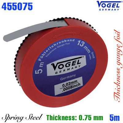 Thước cuộn lá thép đo khe hở 0.75mm, Thickness gauge foil, spring steel. Vogel Germany.