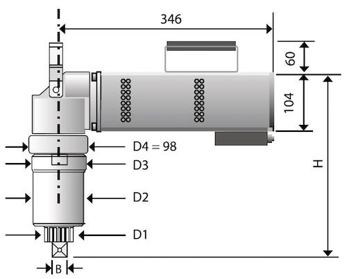 kích thước vật lý của bộ nhân lực đầu cong 90 độ