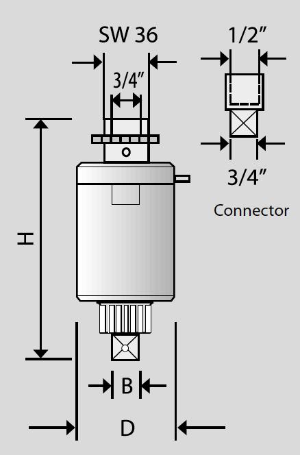 kích thước vật lý của bộ nhân lực Alkitronic Germany
