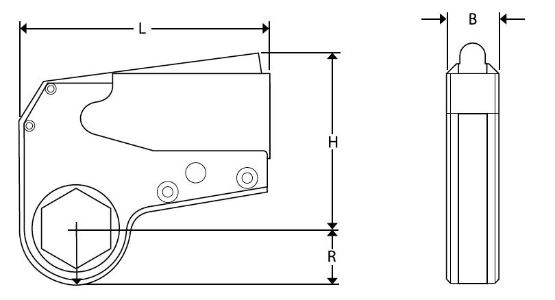 Kích thước vật lý của cờ lê thủy lực loại mỏng AX Series - Alkitronic Germany