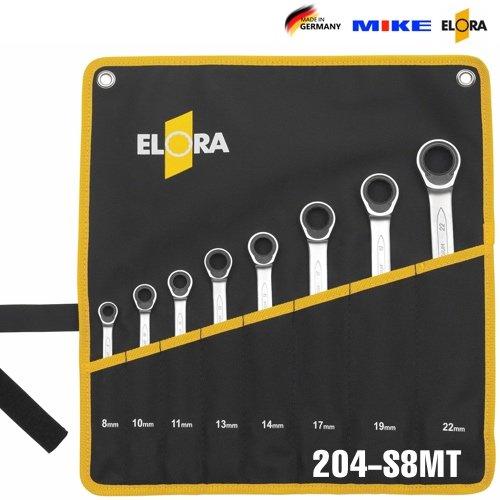 Bộ cờ lê tự động loại thẳng 8pcs, 8 đến 22 mm ELORA 204-S8MT, lật đảo chiều.