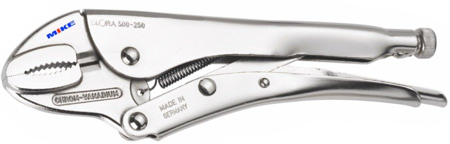 Kìm chết ngàm cong 250mm, Grip plier with wire cutter, curved jaws. ELORA 500-250