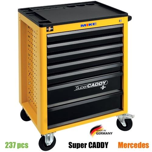 Tủ đồ nghề 7 ngăn Mercedes. Chuyên cho hãng xe. SUPER CADDY, bao gồm 237 tools.