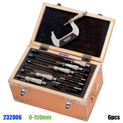Bộ panme cơ 6 pcs từ 0-150mm. Panme đo ngoài từ 0 đến 150mm. Vogel.