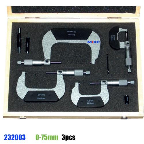 Bộ panme cơ 3 món từ 0-75mm. Panme cơ đo ngoài độ chính xác 0.01mm