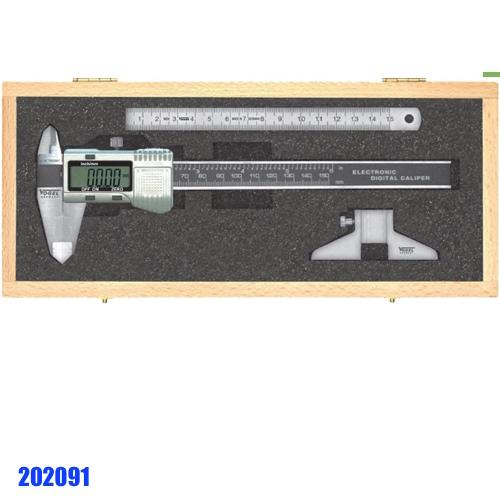 202091 bộ thước cặp điện tử, thước lá inox, dưỡng đo sâu