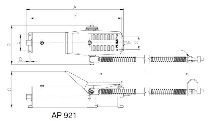 Bản vẽ kích thước của bơm thủy lực BETEX AP921.