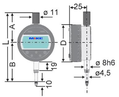 Bản vẽ kích thước Đồng hồ so điện tử 12.7mm ±0.01