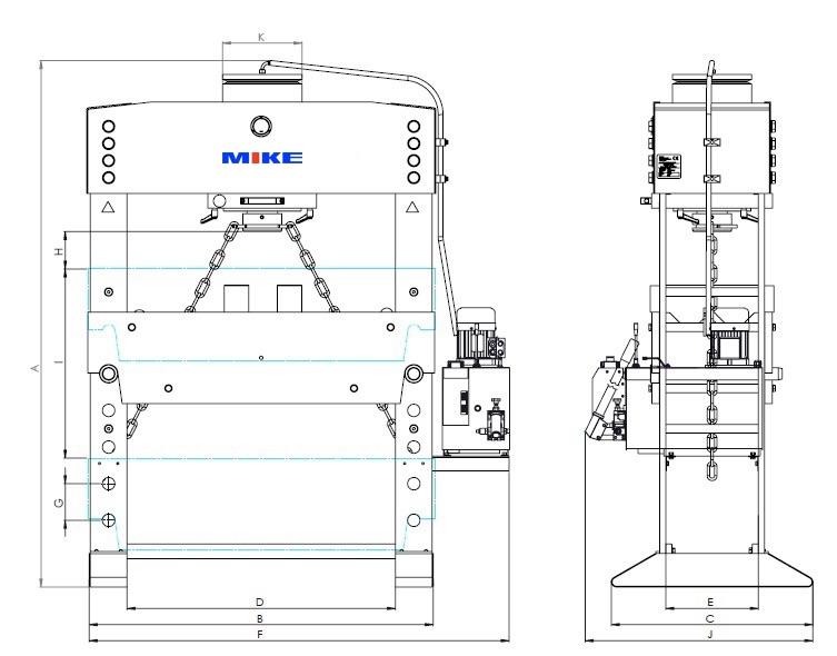 Kích thước vật lý của máy ép thủy lực BETEX.