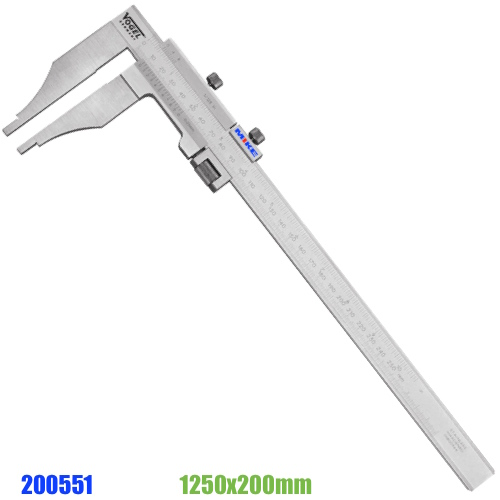 Thước cặp cơ 1250mm ngàm kẹp 200mm, có vít chỉnh tinh, DIN 862. Vogel Germany 200551