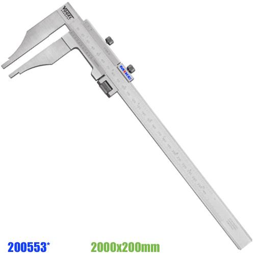 Thước cặp cơ 2000mm ngàm kẹp 200mm. Thước kẹp cơ khí 2m, ngàm đơn.