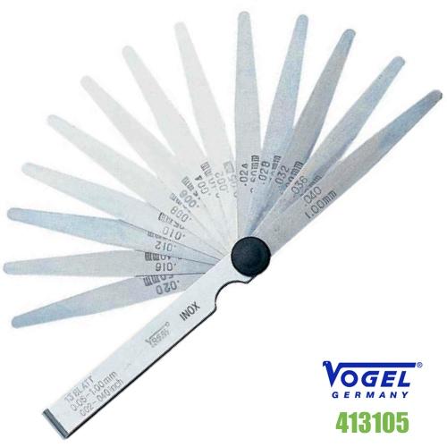 Thước căn lá INOX 13 lá, đo khe hở 0.05-1.0 mm, Feeler gauge. Vogel Germany.