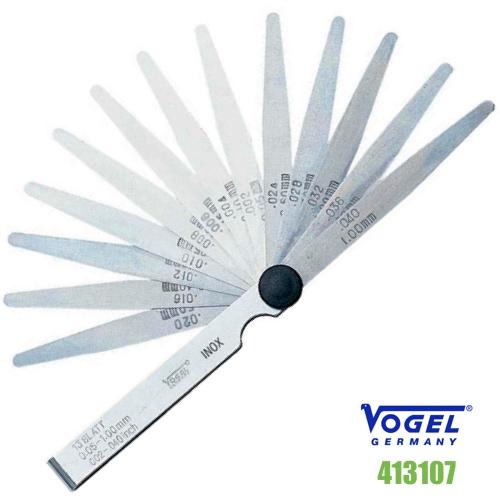 Thước căn lá INOX đo khe hở 0.05-1.0 mm – 20 lá. Feeler gauge. Vogel Germany.