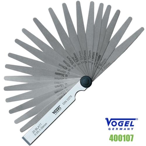 400107 thước căn lá 20 lá đo khe hở 0.05-1.0 mm. Vogel Germany.