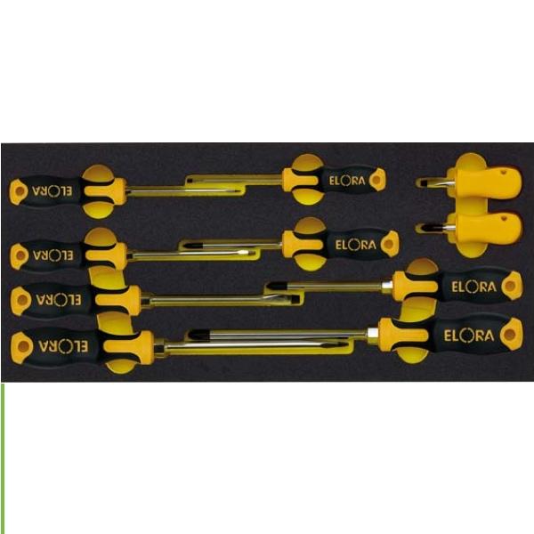 Bộ tua vít 10 món ELORA OMS-7. Đầu dẹp và pake. Dụng cụ cho tủ đồ nghề.